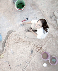 Mosaic restoration in Jordan