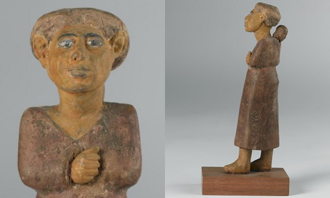 Wooden statuette of a foreign woman excavated at Beni Hassan, Egypt [A.1911.260]. © National Museums Scotland