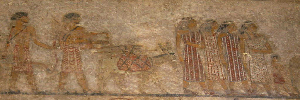 Wall painting of a group of foreigners in the tomb of Khnumhotep II at Beni Hassan, Egypt. © Margaret Maitland