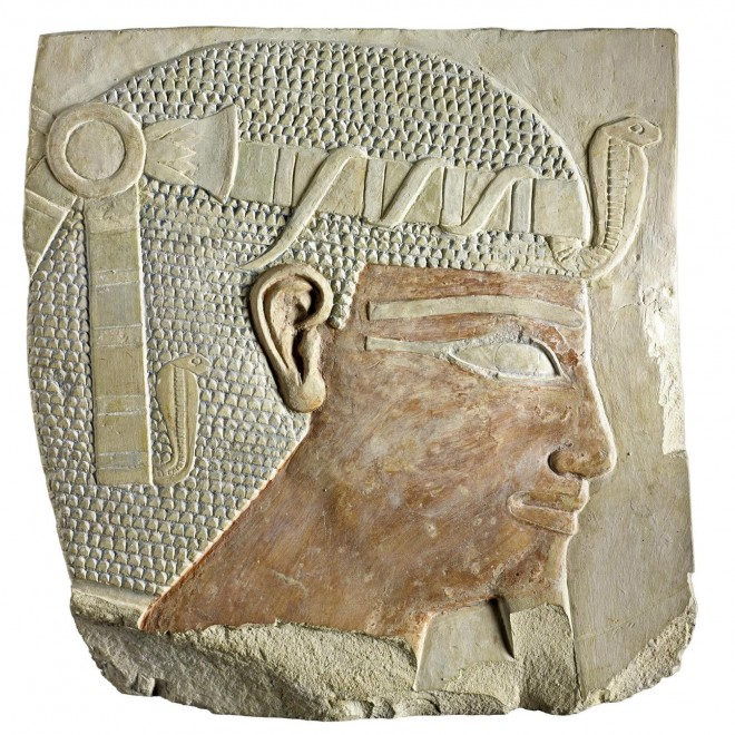 Relief fragment depicting King Nebhepetre Montuhotep II from his mortuary temple at Deir el-Bahri, Thebes, Egypt [A.1906.349]. © National Museums Scotland